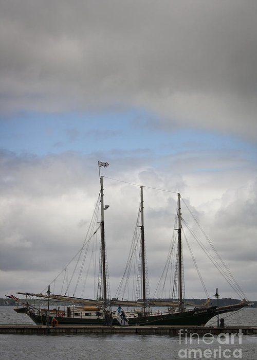 Yorktown Greeting Card featuring the photograph Alliance Charter Schooner by Teresa Mucha