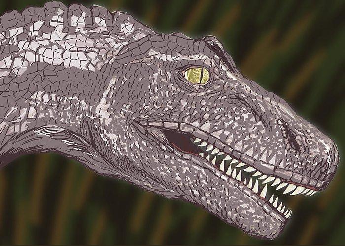 Dinosaur Greeting Card featuring the digital art Allosaurus by Jeffrey Oleniacz