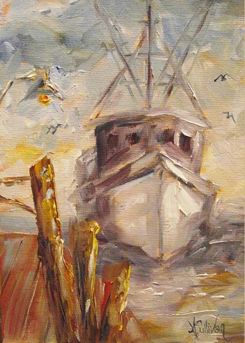 Boat Greeting Card featuring the painting Almost Home by Angela Sullivan