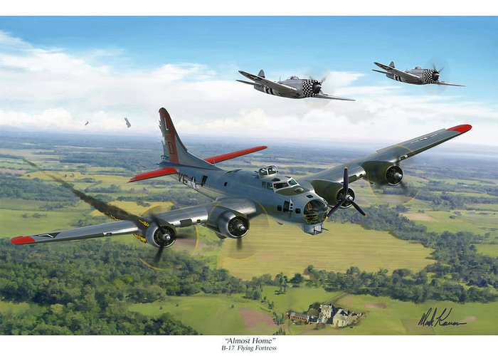 Airplane Greeting Card featuring the painting Almost Home B-17 Flying Fortress by Mark Karvon