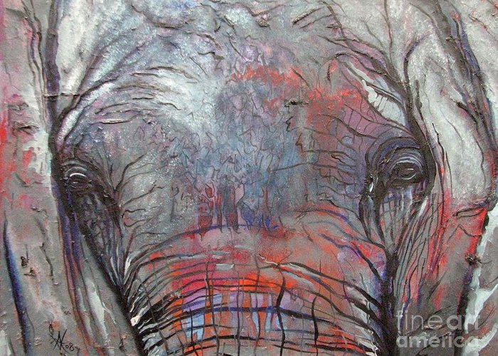 Elephant Greeting Card featuring the painting Alone by Aimee Vance