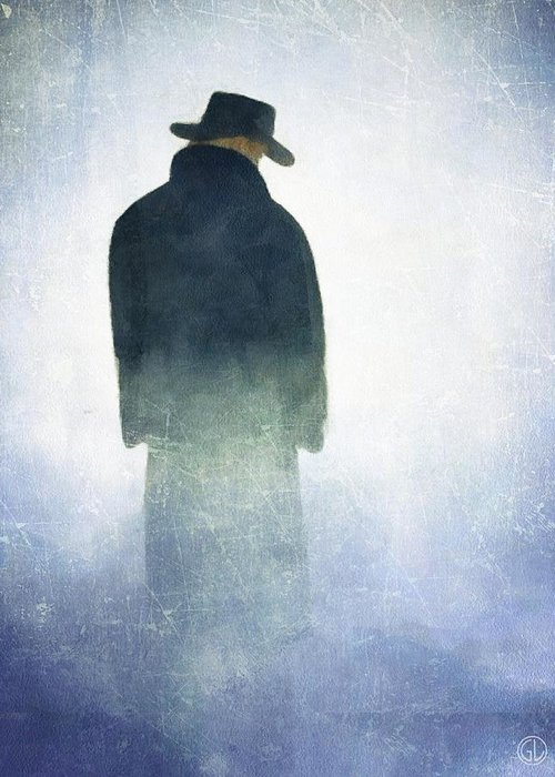 Man Standing In The Fog Greeting Cards