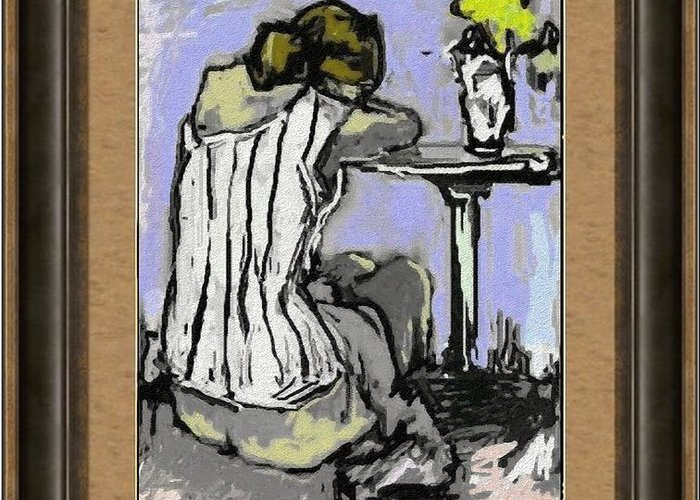 People Greeting Card featuring the painting Alone With Grief Awg2 by Pemaro
