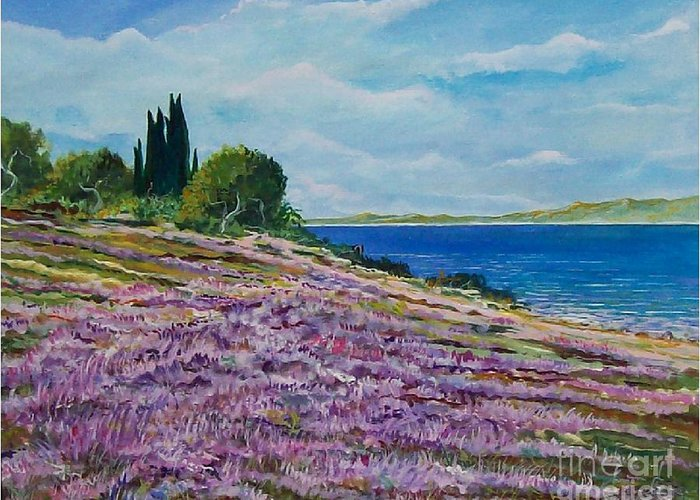 Landscape Greeting Card featuring the painting Along The Shore by Sinisa Saratlic