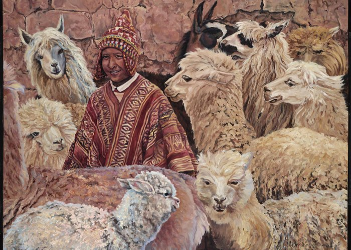 Peru Greeting Card featuring the painting Alpaca shepherd by Christine Lytwynczuk