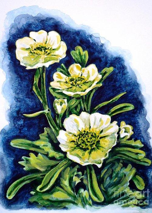 Alpine Ranunculus Greeting Card featuring the painting Alpine Ranunculus by Zaira Dzhaubaeva