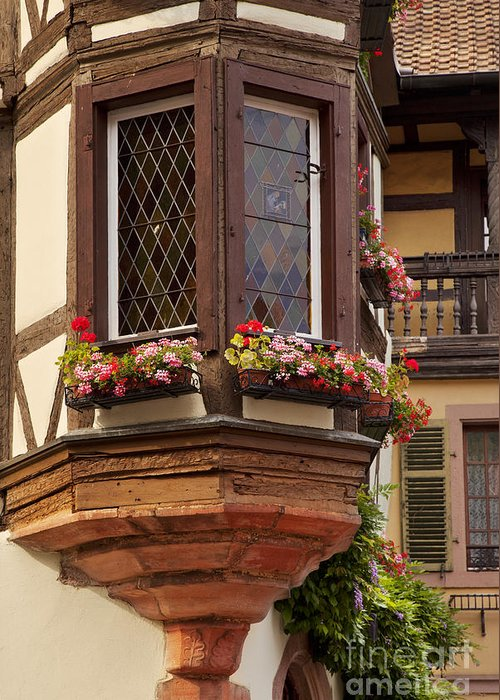 Kaysersberg Greeting Card featuring the photograph Alsace Window by Brian Jannsen
