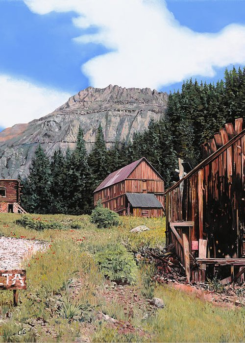 Ghost Town Greeting Card featuring the painting Alta In Colorado by Guido Borelli