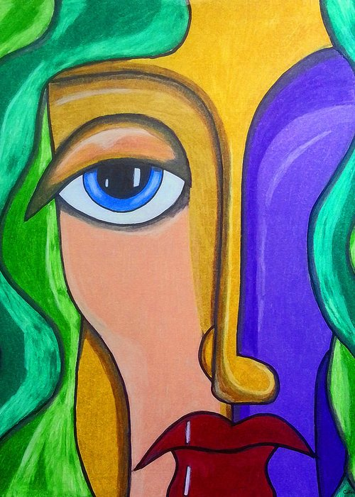 Abstract Face Greeting Card featuring the mixed media Altered Perception by Catherine Harms