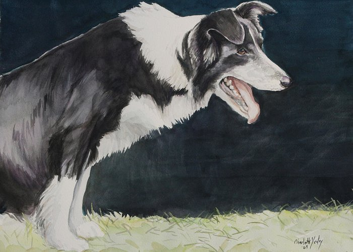 Dog Greeting Card featuring the painting Always Ready by Charlotte Yealey