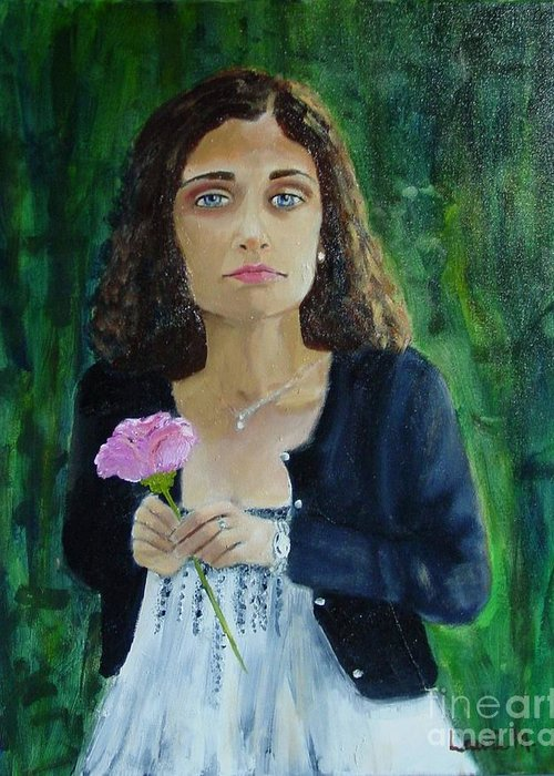 Portrait Greeting Card featuring the painting Aly by Laurie Morgan