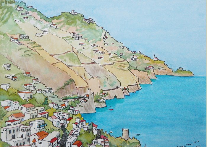 Landscape Greeting Card featuring the painting Amalfi Coast Praiano Italy by Mary Ellen Mueller Legault