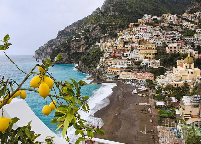 Positano Greeting Card featuring the photograph Amalfi Coast Town by George Oze