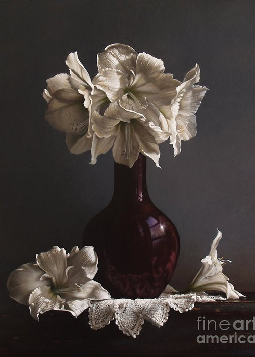 Still Life Greeting Card featuring the painting Amaryllis by Larry Preston