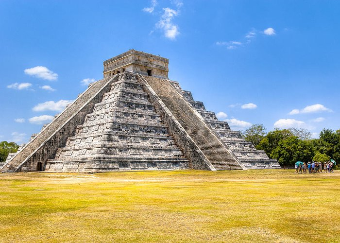 Chichen Itza Greeting Card featuring the photograph Amazing Mayan Pyramid At Chichen Itza by Mark Tisdale