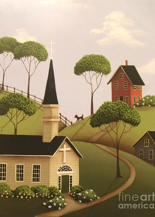 Art Greeting Card featuring the painting Amber Hills by Catherine Holman