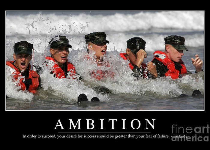 Horizontal Greeting Card featuring the photograph Ambition Inspirational Quote by Stocktrek Images