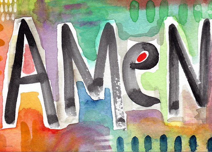 Amen Painting Greeting Card featuring the painting Amen- Colorful Word Art Painting by Linda Woods