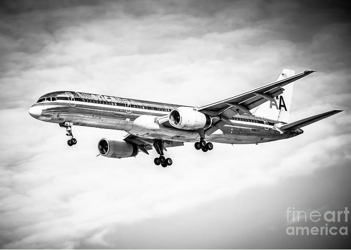 757 Greeting Card featuring the photograph Amercian Airlines 757 Airplane In Black And White by Paul Velgos