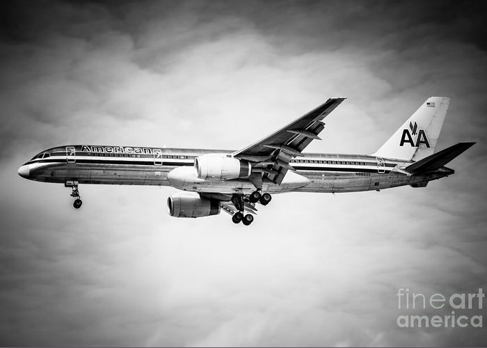 757 Greeting Card featuring the photograph Amercian Airlines Airplane In Black And White by Paul Velgos