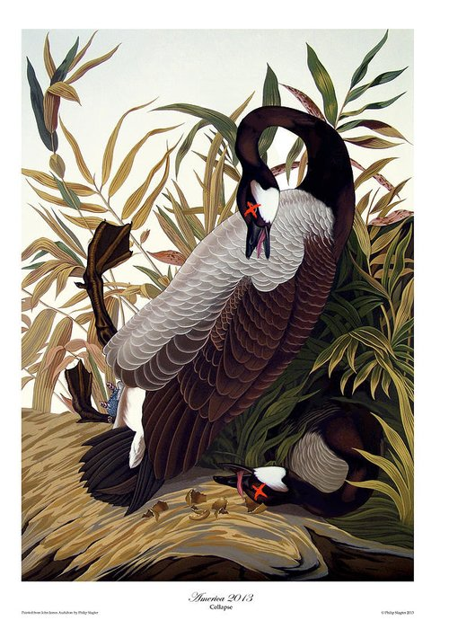 Geese Greeting Card featuring the painting America 2013 by Philip Slagter