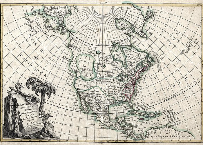 America Map With Compass.America Janvier Map 1762 Greeting Card For Sale By Compass Rose Maps