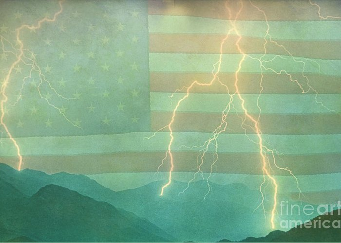 Lightning Greeting Card featuring the photograph America Walk The Line by James BO Insogna