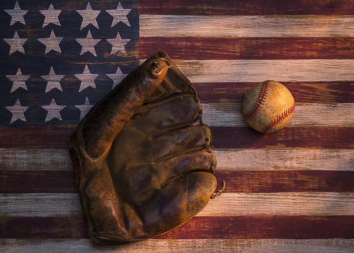 Old Mitt Greeting Card featuring the photograph American Baseball by Garry Gay