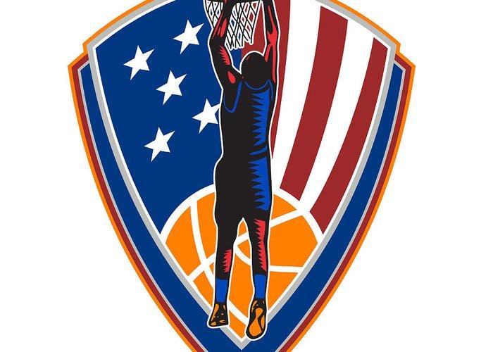 American Greeting Card featuring the digital art American Basketball Player Dunk Ball Shield Retro by Aloysius Patrimonio