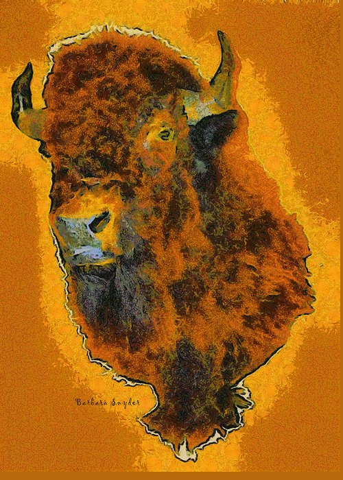 Barbara Snyder Greeting Card featuring the digital art American Buffalo by Barbara Snyder