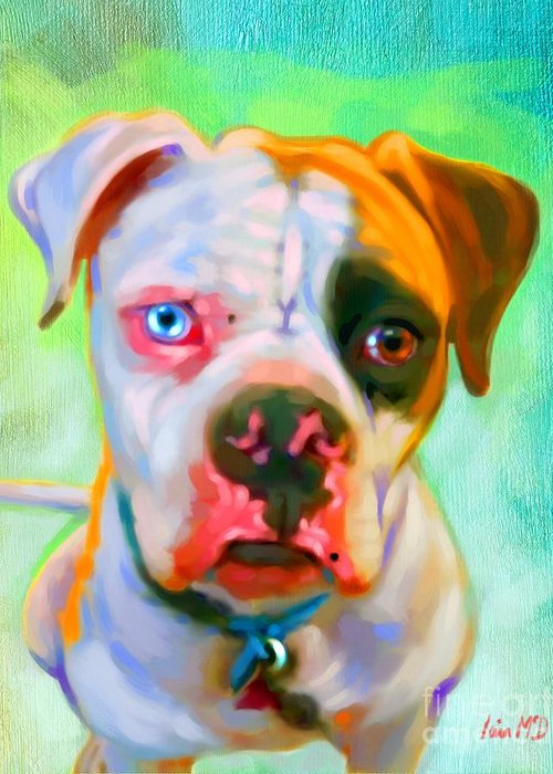 Dog Paintings Greeting Card featuring the painting American Bulldog Art by Iain McDonald