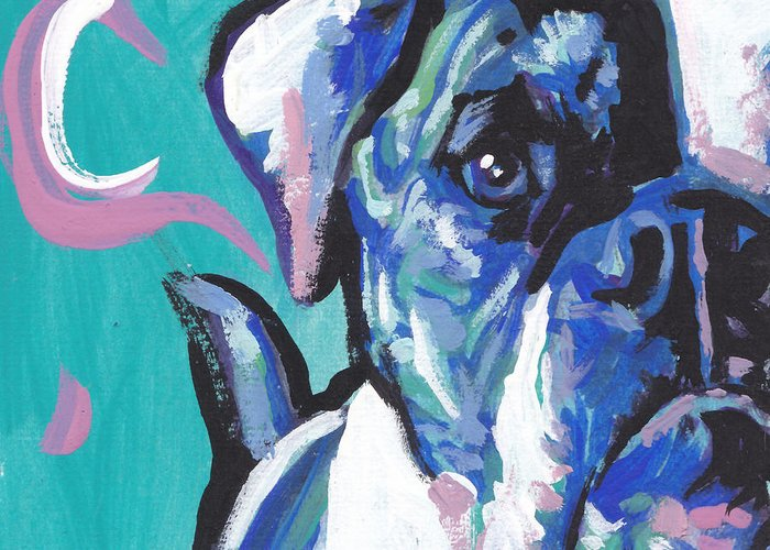 American Bulldog Greeting Card featuring the painting American Bully Boy by Lea S
