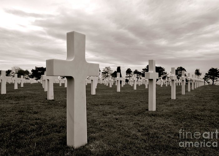 France Greeting Card featuring the photograph American Cemetery In Normandy by Olivier Le Queinec