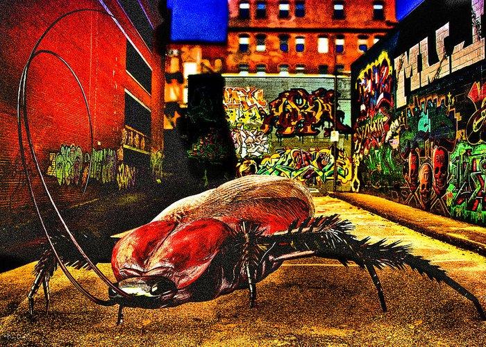 Graffiti Greeting Card featuring the digital art American Cockroach by Bob Orsillo