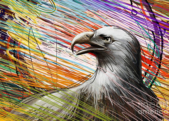 Eagle Greeting Card featuring the digital art American Eagle by Bedros Awak