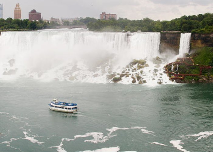 3scape Greeting Card featuring the photograph American Falls by Adam Romanowicz