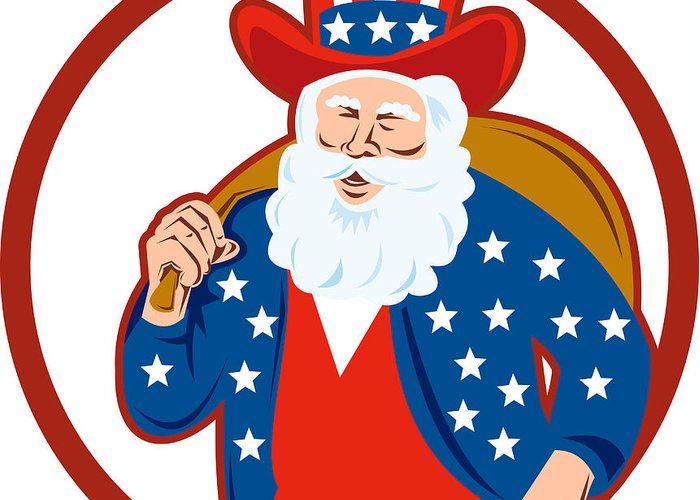 American Greeting Card featuring the digital art American Father Christmas Santa Claus by Aloysius Patrimonio