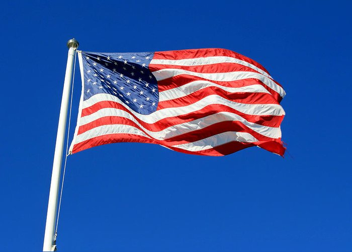 American Flag Greeting Card featuring the photograph American Flag by Barbara West