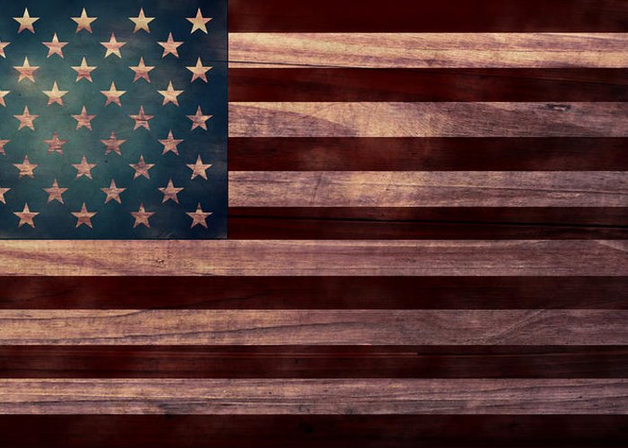 American Flag Greeting Card featuring the digital art American Flag I by April Moen