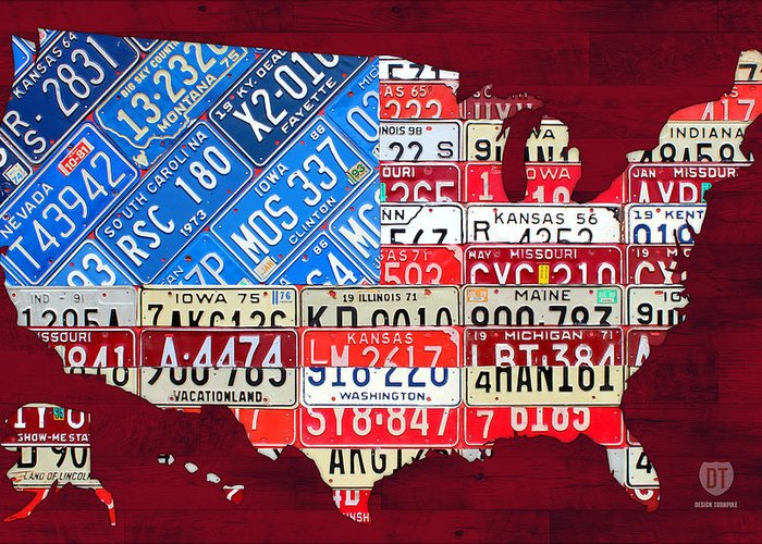 License Plate Map Greeting Card featuring the mixed media American Flag Map Of The United States In Vintage License Plates by Design Turnpike