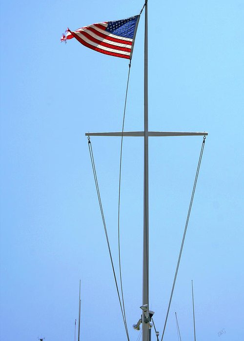 American Greeting Card featuring the photograph American Flag On Mast by Ben and Raisa Gertsberg