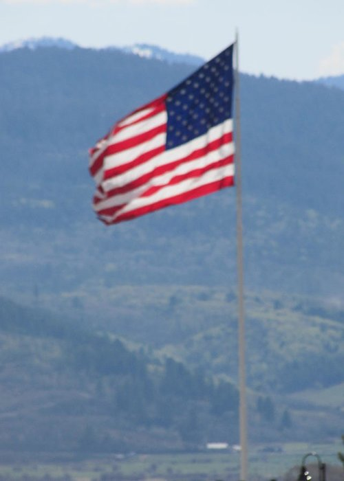 Star Valley Greeting Card featuring the photograph American Flag Star Valley by Shawn Hughes