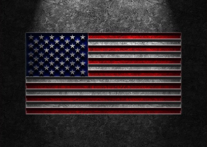 4th Of July Greeting Card featuring the digital art American Flag Stone Texture by Brian Carson