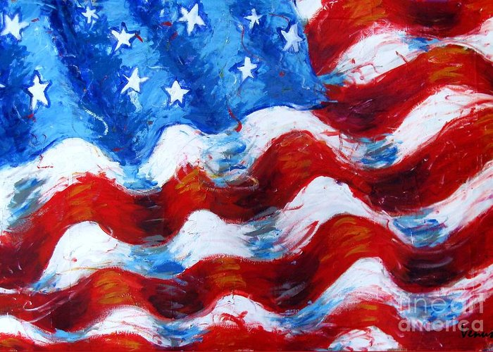 American Flag Greeting Card featuring the painting American Flag by Venus