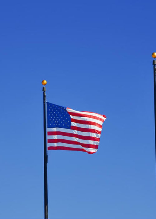 Three Greeting Card featuring the photograph American Flags - Navy Pier Chicago by Christine Till