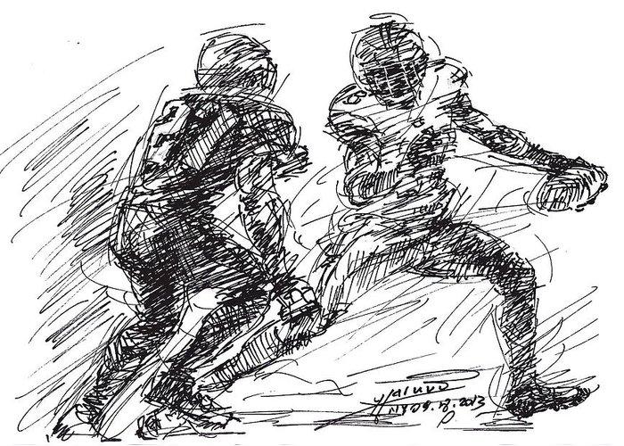 American Football Drawings Greeting Cards