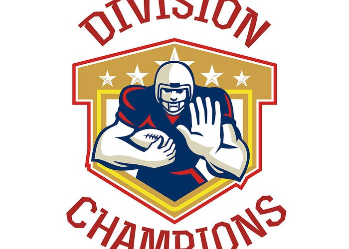 American Football Greeting Card featuring the digital art American Football Division Champions Shield by Aloysius Patrimonio