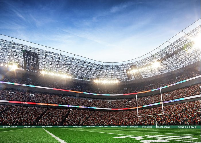 Financial Figures Greeting Card featuring the photograph American Football Stadium Arena Vertical by Sarhange1