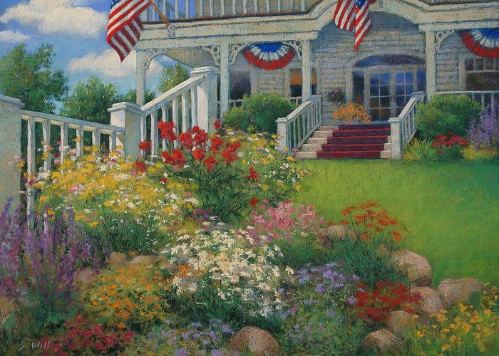 American Greeting Card featuring the painting American Garden by Sharon Will