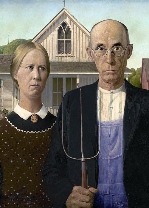 American Gothic By Grant Wood 1930 Greeting Card For Sale By Daniel Hagerman